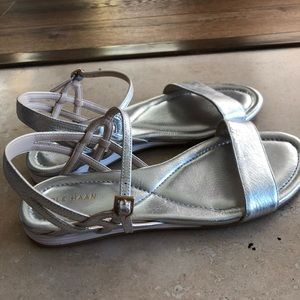 Cole Haan silver sandals comfortable 8.5 new